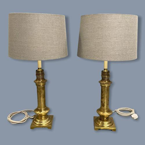 Pair of Brass Column Table Lamps (1 of 7)