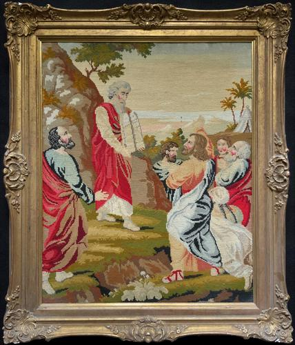 Large Elegant 20th Century Vintage Antique Embroidery Wall Hanging in Gilt Frame (1 of 12)