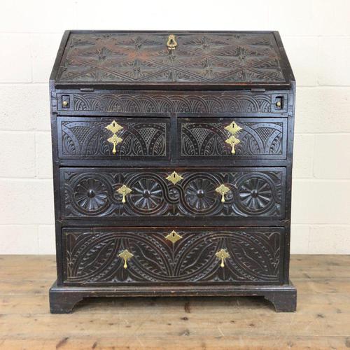 Antique Carved Oak Bureau (1 of 14)