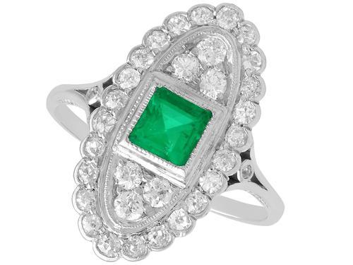 0.57ct Emerald & 1.20ct Diamond, Platinum Ring - Antique c 1920 (1 of 9)