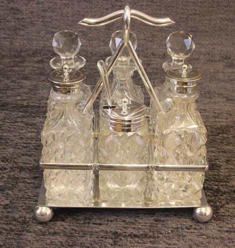Antique Silver Plated Six Bottle Glass Cruet (1 of 13)