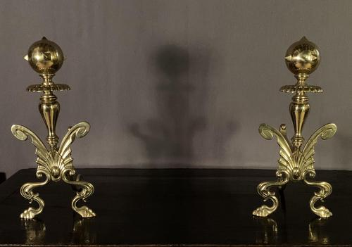 Superb Pair of Brass Aesthetic Movement Victorian Fire Dogs (1 of 6)