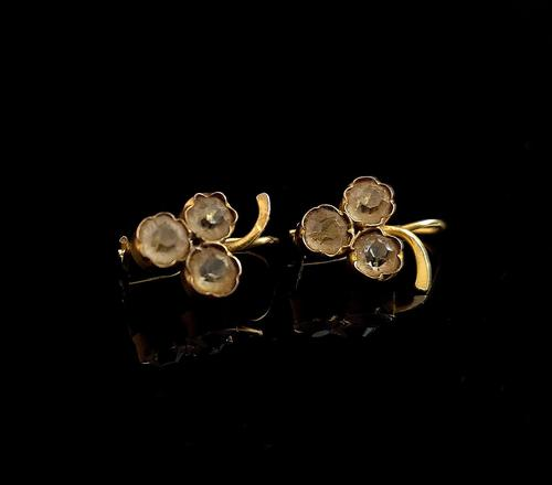 Antique Victorian 18ct Gold Paste Earrings, Grapes (1 of 10)