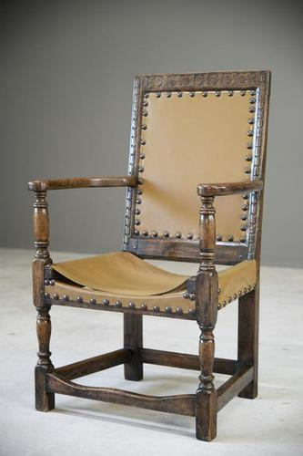 Oak & Leather Carver Chair (1 of 12)