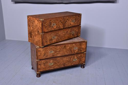Burr Walnut Victorian Campaign Chest of Drawers (1 of 10)