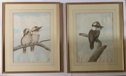Neville Henry Cayley - Pair of Watercolours of Kookaburras (1 of 7)