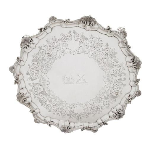 """Antique Victorian Sterling Silver 13"""" Tray / Salver 1850 (1 of 9)"""