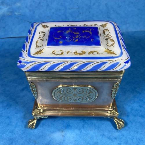 Arts & Crafts Glass and Brass Single Tea Caddy. (1 of 18)