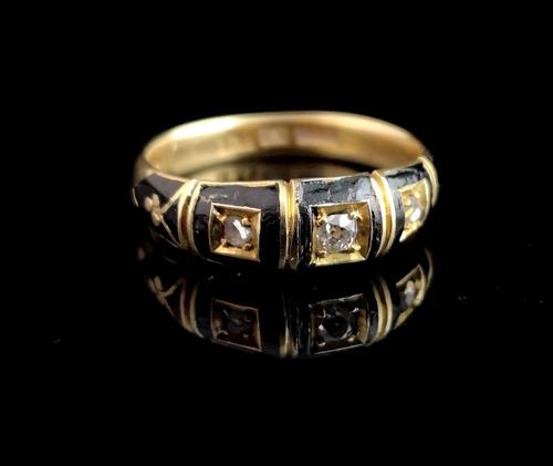 Antique Diamond Mourning Ring, 18ct Gold (1 of 9)