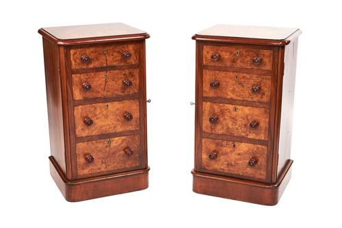 Pair of Victorian Burr Walnut Bedside Cupboards Faux Drawer Fronts (1 of 6)