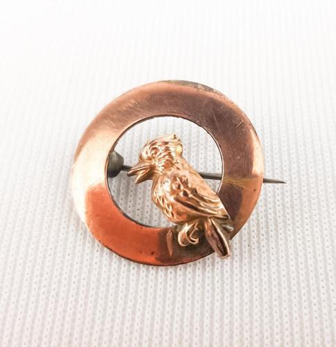 9ct Gold on Silver Woodpecker Brooch (1 of 2)