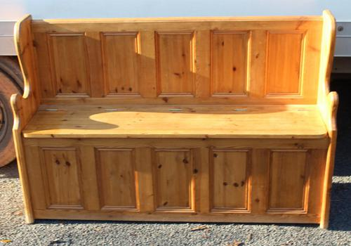 1960's Country Pine Large Panelled Settle (1 of 4)