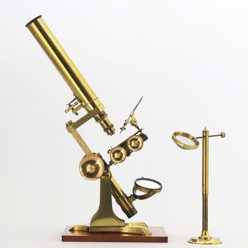 Mid 19th Century Cased Brass Bar-Limb Microscope with Magnifier c1850 (1 of 14)