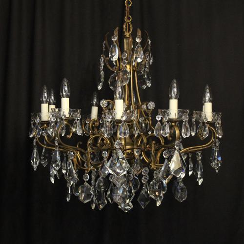 Italian 10 Light Gilded & Crystal Chandelier (1 of 10)