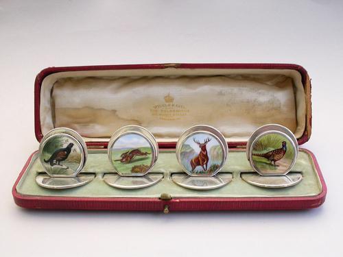 Cased Set of 4 Edwardian Silver & Enamel English Game Menu Holders by Sampson Mordan, Chester, 1904 (1 of 15)