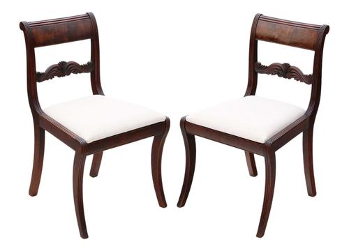 Pair of Regency mahogany dining side hall bedroom chairs C1825 (1 of 7)