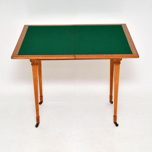 Antique Edwardian Inlaid Satinwood Card Table (1 of 12)