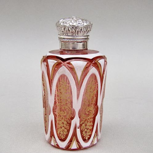 Fabulous Victorian Silver and Bohemian Overlay Cranberry Glass  Scent Bottle c.1890 (1 of 9)