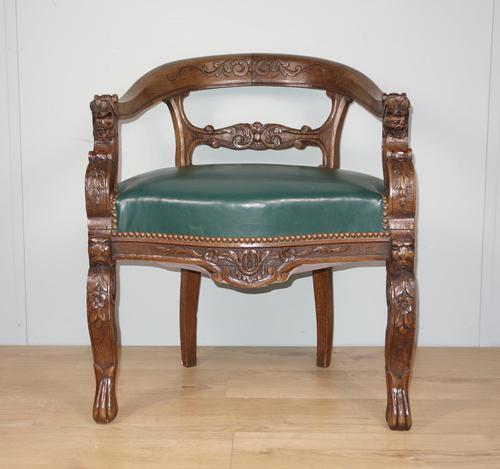 Carved Oak Victorian Desk Chair (1 of 9)