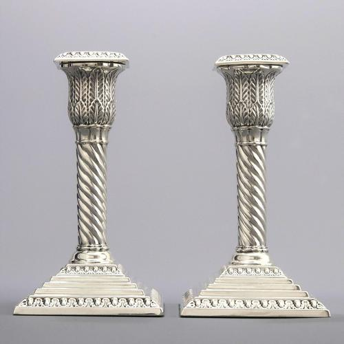 Good Pair of Silver Candlesticks by Walker & Hall London 1895 (1 of 11)