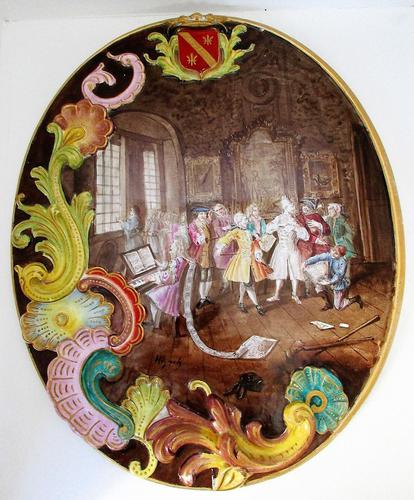 """Antique French Lille Faience Oval Plaque ~ """"A Rake's Progress"""" (1 of 4)"""