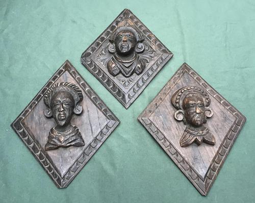 3 Antique Carved Oak Lozenge Shape Figure Heads (1 of 6)