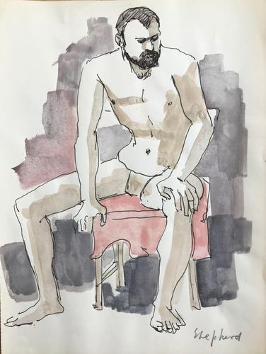 Original watercolour 'Contemplation' by Toby Horne Shepherd 1909-1993. Signed (1 of 1)