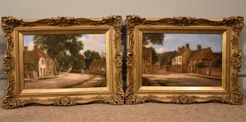 "Oil painting Pair by Alfred Kedington Morgan ""Village High Street"" (1 of 8)"