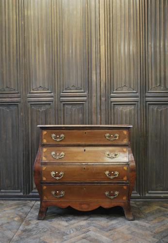 Dutch mahogany bombe commode / chest of drawers (1 of 8)
