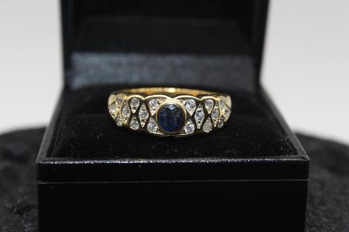 18ct Gold, Diamond & Sapphire Ring, size U, weighing 4.6g (1 of 8)