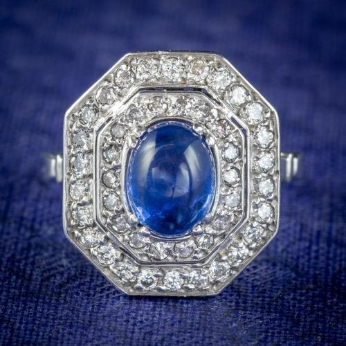 Art Deco Sapphire Diamond Cluster Ring 18ct Gold 1.50ct Sapphire 1.69ct Diamond c.1930 (1 of 7)