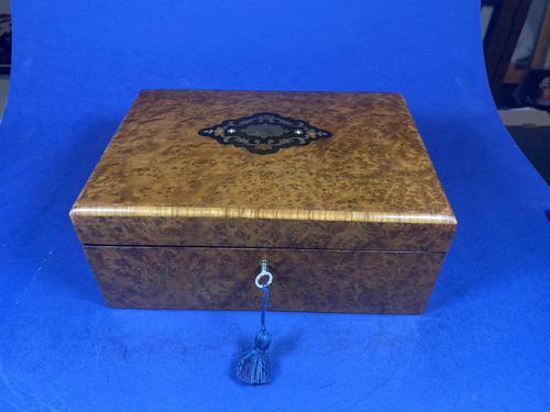 19th Century French Burr Cedar Inlaid Box (1 of 11)