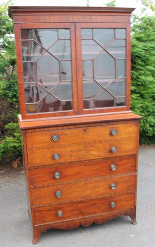 1880 Mahogany Secretaire Bookcase (1 of 5)