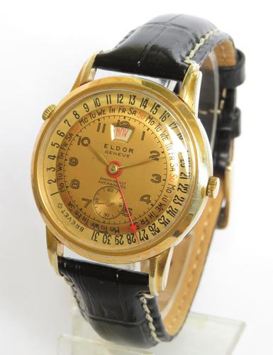 Gents 1950s Eldor Geneve Triple Date Wrist Watch (1 of 5)