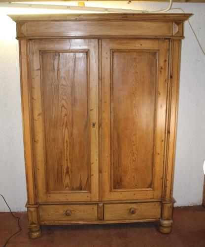 1900s Quality Country Pine 2 Door Wardrobe with Drawers (1 of 5)
