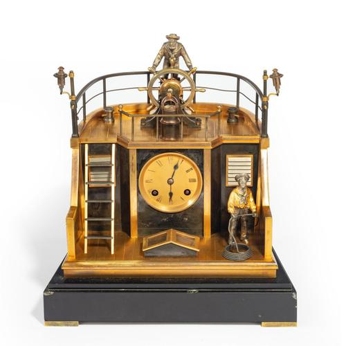 Late 19th century French gilt-brass & steel novelty 'quarterdeck' mantel clock by Guilmet, Paris (1 of 2)