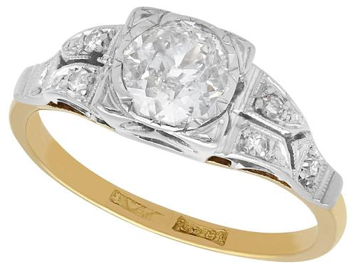 0.80ct Diamond & 18ct Yellow Gold Solitaire Ring - Vintage c.1940 (1 of 9)