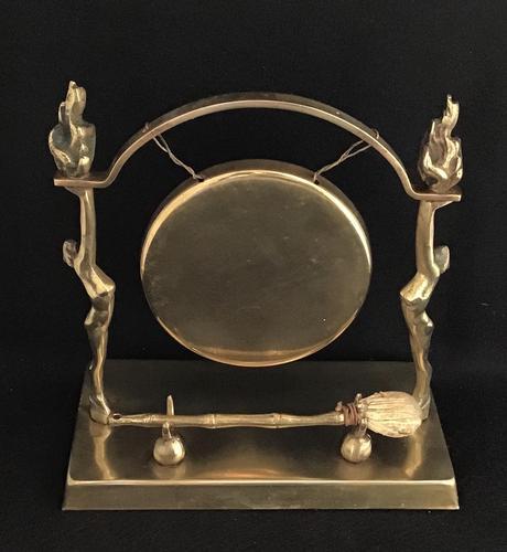 Art Deco Brass Dinner Gong & Striker (1 of 6)