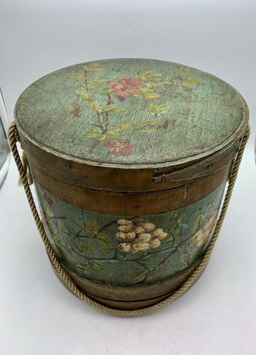 Antique Treen Hand Painted Sewing Box c.1915 (1 of 9)