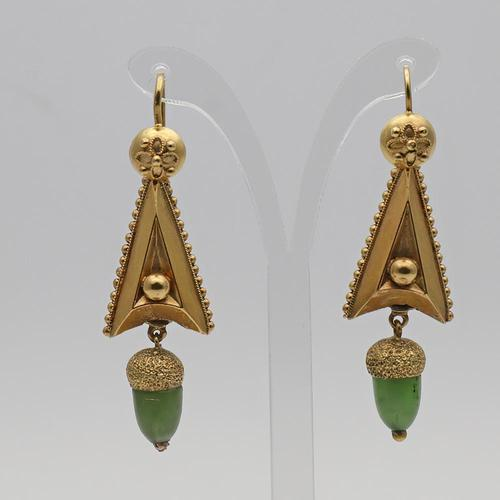 Late 19th-century nephrite acorn drop earrings (1 of 2)