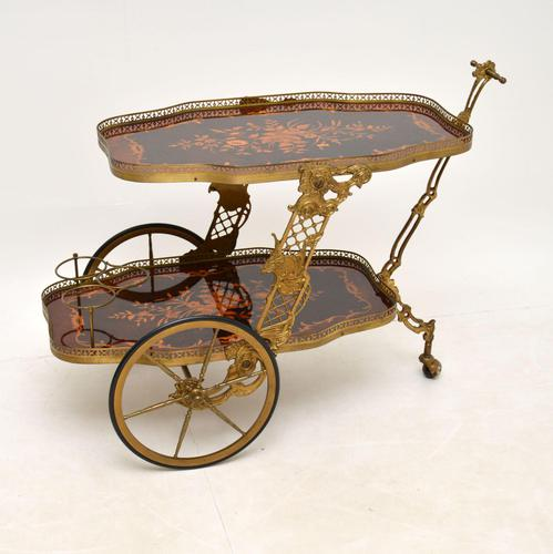 Vintage Italian Brass & Marquetry Drinks Trolley (1 of 14)