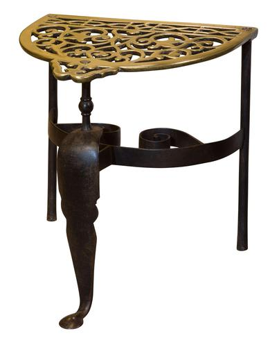 19th Century cast brass and wrought iron fireside trivet (1 of 5)