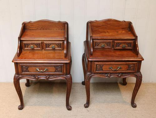 Pair of French Solid Oak Bedside Cabinets (1 of 8)