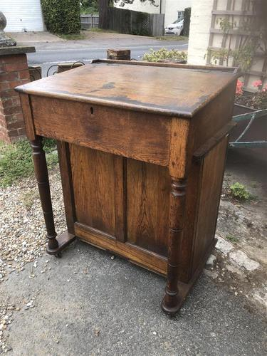 Antique Oak Clerk's Desk with Cupboard (1 of 11)