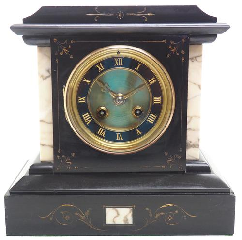 Fine French Slate & Marble Mantel Clock 8 Day Striking Mantle Clock (1 of 10)