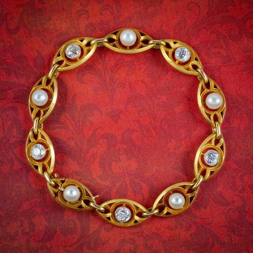 Antique Art Nouveau French Diamond Pearl Bracelet 18ct Gold 3ct Diamond c.1900 (1 of 7)