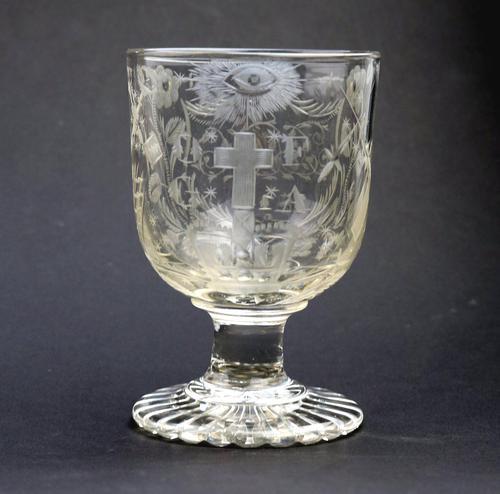 Exceptional, Fine & Rare Regency Oddfellows / Masonic Glass Rummer c.1814 (1 of 11)