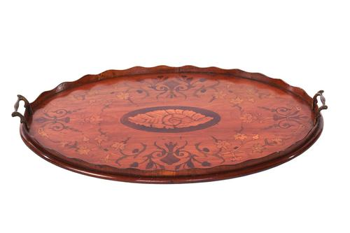 Sheraton Revival Oval Satinwood Inlaid Serving Tray c.1880 (1 of 6)