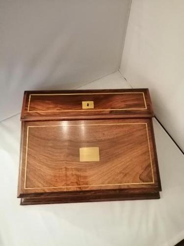 19th Century Mahogany & Olive Wood Shallow Writing Slope (1 of 8)