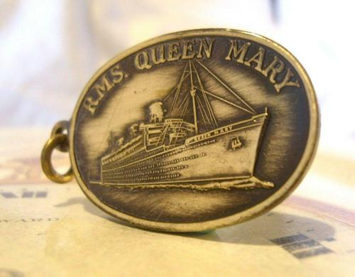 Vintage Pocket Watch Chain Fob 1950s Rms Queen Mary Ships Brass Propeller Fob (1 of 8)